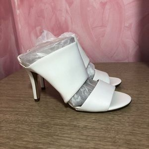 H by Halston White Leather and Stretch Mesh Mules